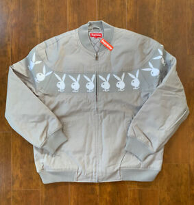 Supreme x Playboy Crew Jacket SS19 Grey XLarge