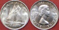 Brilliant Uncirculated 1953 Canada No Shoulder Fold Silver 10 Cents