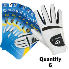 "6 X Bionic Relax Grip Golf Glove - Mens Black Leather Palm ""looks Newer Longer"" Small Right Hand (for Left Handed Golfers)"