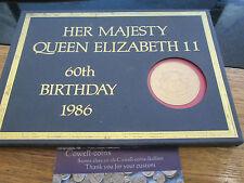 1986 REGINA ELISABETTA II sessantesimo compleanno RACCOLTA DI 9 MONETE £ 2 £ 1 50P ECT con montante