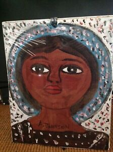 Anderson Johnson FOLK ART PAINTING  OUTSIDER VINTAGE Portrait with Halo