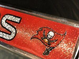 "1 Tampa Bay Buccaneers ""Glitter - Bling"" Metal Vehicle License Plate Frame"