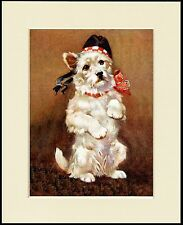 WESTIE WEST HIGHLAND WHITE TERRIER PRINT CUTE DOG BEGGING MOUNTED READY TO FRAME