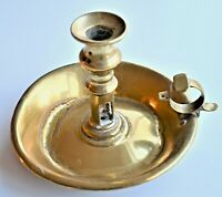 Antique Brass Decorative Victorian Chamber Stick Candle Holder 14cm tall