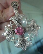 Vintage Unusual Large Silver JERUSALEM Cross Pendant - Pink Quartz