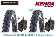 "2 Copertoni KENDA 24x1,95 K831 Tassel. Nero + 2 Camere per Bici 24"" MTB Mountain"
