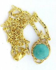 13mm Baby Blue Arizona Turquooise Cabochon Cab Gem Goldplated Pendant Chain