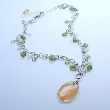 Exquisite Handmade Peridot & Large Citirne Drop Dangle Silver Chain Necklace NEW