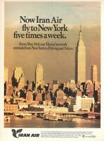 1975 Original Advertising' Vintage Iran Air Airlines New York