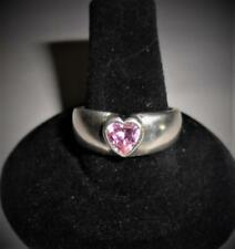 QVC STERLING SILVER DQ CZ PINK HEART RING SIZE 8.5 DIAMONIQUE