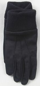 POLO RALPH LAUREN BLACK COTTON LEATHER WOOL GLOVES NWT
