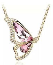 18k Yellow Gold GP Clear Pink Sapphire Crystal Butterfly Rhinestone Necklace
