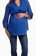 Nwt Pinkblush Maternity Blue Flowy Chiffon Long Sleeve Blouse Size Small