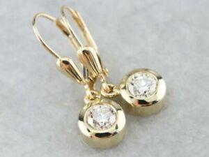 2Ct Round Cut VVS1/D Diamond Bezel Drop/Dangle Earrings 14K Yellow Gold Finish