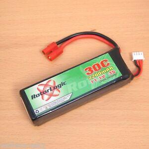 RotorLogic LiPo Battery 11.1V 2200mAh 30C Banana Plug for Walkera V450D03 Heli