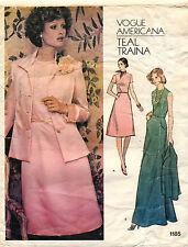 années 1970 VTG VOGUE A.femmes ' veste et robe bleu sarcelle Traina motif 1185 S
