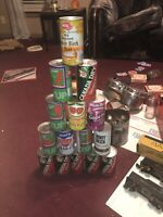 15 Vintage Steel Soda Cans Canada Dry, Seven Up, Grafs, Wishniak  And Others