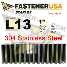 "L Staples L13 Stainless Steel 18 gauge 1/4"" crown - 1"" length (1000 ct)"