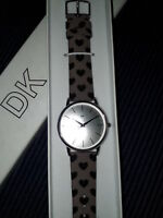 DK Silver Colour Metal Round Watch with Brown and Black Star Wristlet