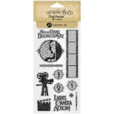 Vintage Hollywood #1 Unmounted Cling Rubber Stamp Set Graphic 45 Ic0377 New