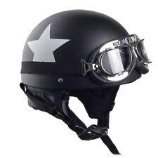 CARCHET Moto Casque étoile Visière Goggle Chapeau Bavoir Récurer Blanc Noir