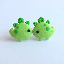 Funny Polymer Clay Spring Bright Green Dinosaur Stud Dragon Emo Earrings Jewelry