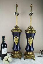 Antique French blue Faience satyr devil heads Vases mounted lamps 1900