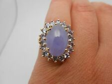 Gorgeous 14K Yellow Gold Chalcedony & Tanzanite Large Halo Cocktail Ring Sz 7.25