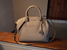 Authentic Michael Kors Riley Large Satchel Leather Pearl Grey New W/Tag $368