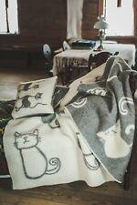 Blanket Throw Bed Sofa Fleece Cozy Plaid Soft Warm Wool 130x200cm Happy cat Grey