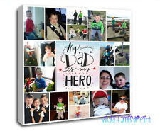 "20""x20""  PERSONALISED COLLAGE CANVAS PHOTO GIFT BIRTHDAY FATHERS DAY QUOTE"