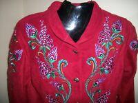 Women's Bob Mackie Wearable Art L/S Button Down Fleece Jacket Embroidered Size S