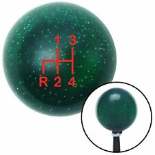 Red Shift Pattern 4n Green Metal Flake Shift Knob with M16x1.5 insert 9 inch
