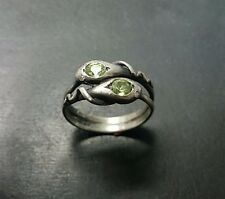 Classic Sterling Silver Double Snake ring with Genuine Peridots and Diamonds