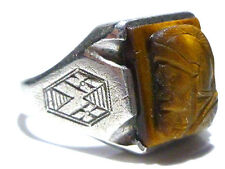 ANTIQUE OLD ART NOUVEAU DECO STERLING SILVER TIGERS EYE MENS SHIELD INTGLIO RING