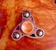 NEW Mini Tri Hand Spinner EDC FIDGET CERAMIC HYBRID CHROME STABILIZED WOOD
