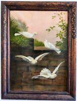Huile sur toile 19ème Les colombes Barcelone