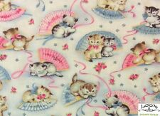 RPFMM77 RARE Kitty Kittens Cat Retro Vintage Cute Bows Cat Cotton Quilt Fabric