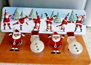 Christmas LED Light Up Santa Snowman Suction Cup Window Decorations x 4