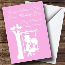 Pastel Pink Couple Eon Swing Personalised Wedding Greetings Card