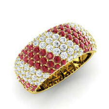 Round Cut 14K Yellow Gold 1.32 Ct Natural Diamond Party Ruby Ring Size G I J M N