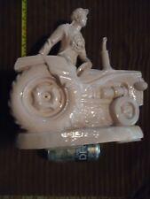 ORIGINAL 1950's ceramic red china tractor girl NUJIE DIYI