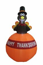 6 Foot Tall Thanksgiving LED Inflatable Turkey on Pumpkin Yard Party Decoration