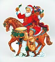 Victorian Santa Die Cut Laminated Board 2-Sided Child & Horse with Gifts GUC