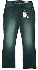 NWT $69.50 Calvin Klein 30 x 30L Curvy Boot Cut Distressed Stretch Jeans AWESOME