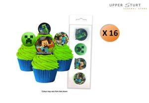 Minecraft Wafer Cupcake Toppers 16 Pack Edible Images Party FREE SHIPPING