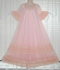Vtg Pink INTIME 4 Layer w Sheer Chiffon Peignoir Robe Nightgown Gown Negligee P