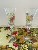 Set of 2 Fruit Vintage Crystal  Champagne Flutes Fall Autumn Rare find 9 1/4""