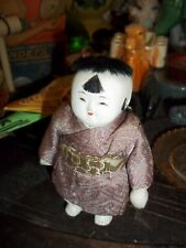 Vintage Porcelain Asian Doll Chinese Bisque Kimono Boy Black Hair 4 Inches Tall