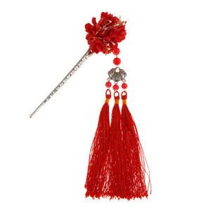Sweet Fringed Tassel Hairpin Hair Stick Kanzashi Vintage for Hanfu Kimono